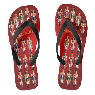 Nutty Nutcracker Toy Soldiers Army Flip Flops