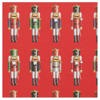 Nutty Nutcrackers Toy Soldiers Cartoon Fabric