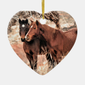 Nuzzling Horses Ceramic Ornament