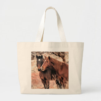 Nuzzling Horses Large Tote Bag