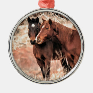 Nuzzling Horses Metal Ornament