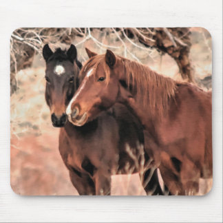 Nuzzling Horses Mouse Pad