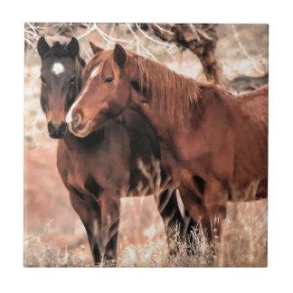 Nuzzling Horses Tile