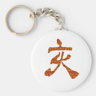 NVN22 navinJOSHI Chinese Red Gold CHARACTER ART Basic Round Button Keychain