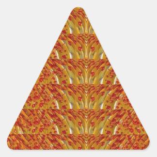 NVN35 navinJOSHI Sparkle Gold n Red Pattern GIFTS Triangle Sticker