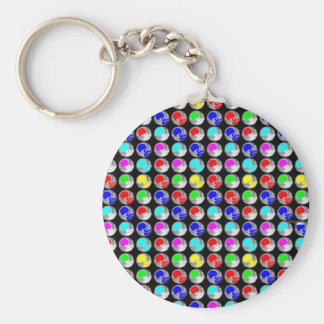 NVN5 NavinJOSHI Art Blue Red COLORFUL Sparkles Basic Round Button Keychain