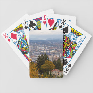 NW and NE Portland Cityscape during Fall Season Bicycle Playing Cards