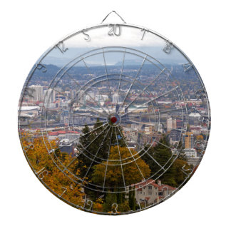 NW and NE Portland Cityscape during Fall Season Dartboard
