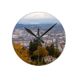 NW and NE Portland Cityscape during Fall Season Round Clock