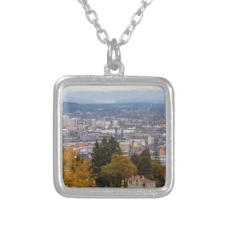 NW and NE Portland Cityscape during Fall Season Silver Plated Necklace