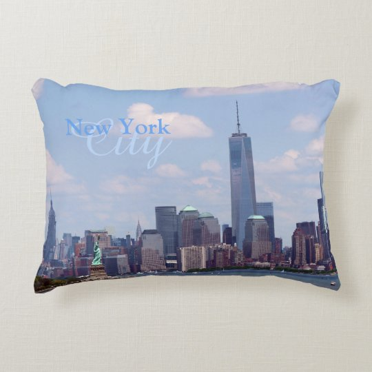 NY City Liberty, Freedom Tower and Empire Bldg. Accent Pillow