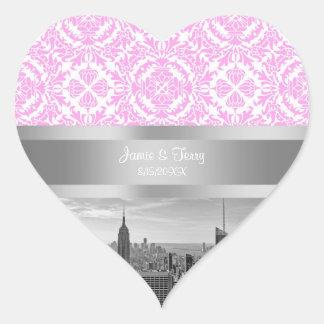 NY City Skyline BW D4P Pink White Damask Heart Sticker