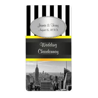 NY City Skyline BW Stripe Yello P Party Wine Label Shipping Label