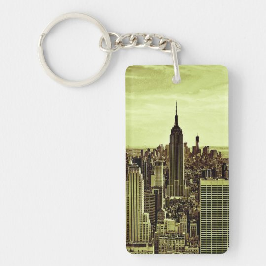 NY City Skyline Empire State Building, LM6 Double-Sided Rectangular Acrylic Keychain