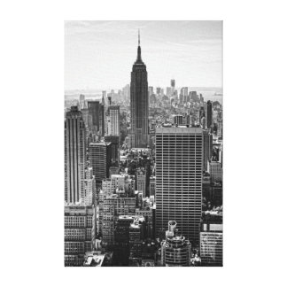 NY City Skyline Empire State Building, WTC BW Canvas Print
