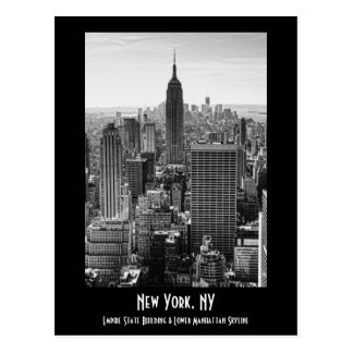 NY City Skyline Empire State Building, WTC BW Postcard
