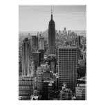 NY City Skyline Empire State Building, WTC BW Posters
