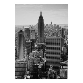 NY City Skyline Empire State Building, WTC BW Poster