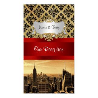 NY City Skyline Sepia B4 Damask Inv Escort Cards Business Card