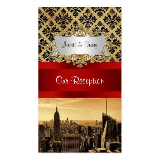 NY City Skyline Sepia B4 Damask Inv Escort Cards Business Card Templates