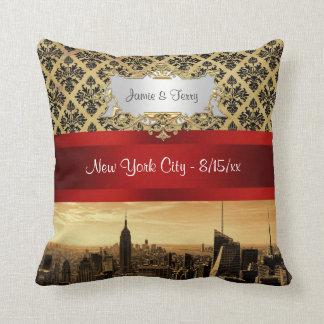 NY City Skyline Sepia B4 Damask Pillow
