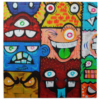 NY Graffiti Street Art - Cute Silly Monsters Napkin