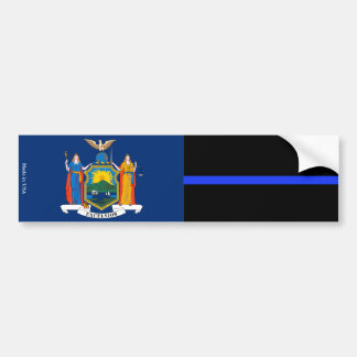 NY & Police Thin Blue Line Flag Bumper Sticker