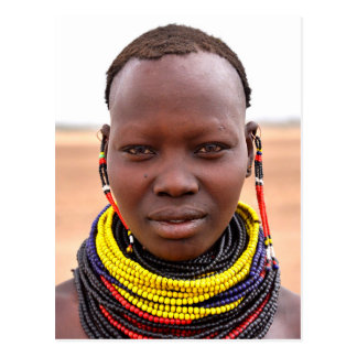 Nyangatom woman wearing beaded necklaces postcard
