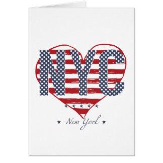 NYC American Flag Heart Card