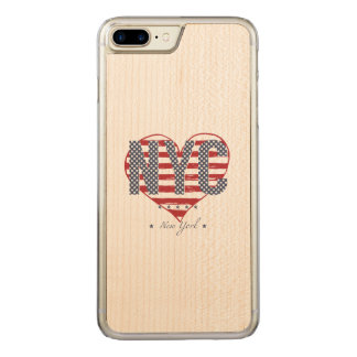 NYC American Flag Heart Carved iPhone 8 Plus/7 Plus Case