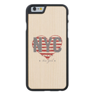 NYC American Flag Heart Carved Maple iPhone 6 Case