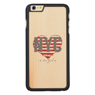 NYC American Flag Heart Carved Maple iPhone 6 Plus Case