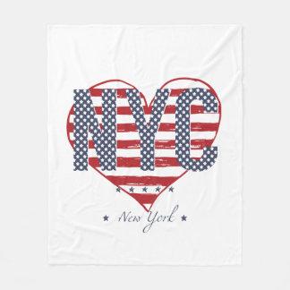 NYC American Flag Heart Fleece Blanket