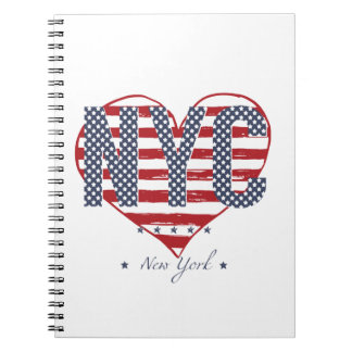 NYC American Flag Heart Notebook