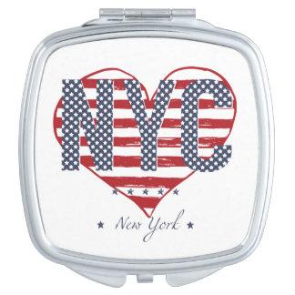 NYC American Flag Heart Vanity Mirror