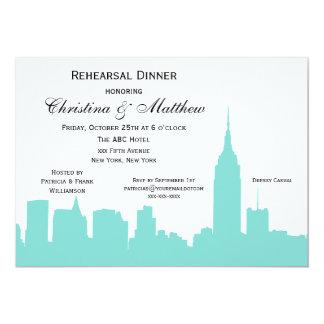 "NYC Aqua Skyline Silhouette Rehearsal Dinner 5"" X 7"" Invitation Card"