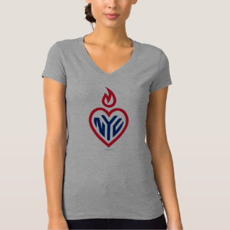 NYC Bella Jersey V-Neck - Gotham Heart - New York T-Shirt