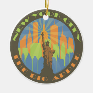 NYC Big Apple Beachy Round Ceramic Ornament