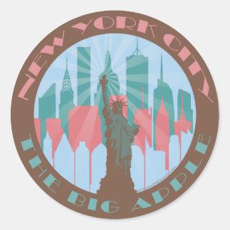 NYC Big Apple Chocolate Round Sticker