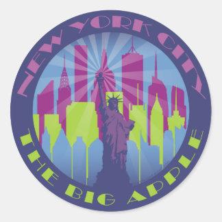 NYC Big Apple Cool Round Sticker
