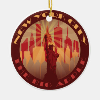 NYC Big Apple Hot Round Ceramic Ornament