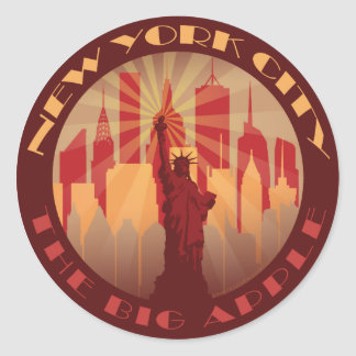 NYC Big Apple Hot Round Sticker