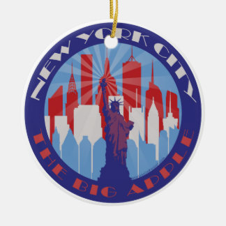 NYC Big Apple Patriot Round Ceramic Ornament