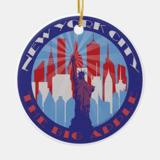 NYC Big Apple Patriot Round Ceramic Ornament