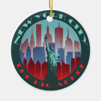 NYC Big Apple round Round Ceramic Ornament