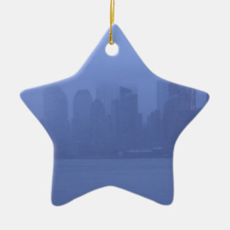 NYC Blue Foggy City Skyline CricketDiane Ceramic Star Ornament