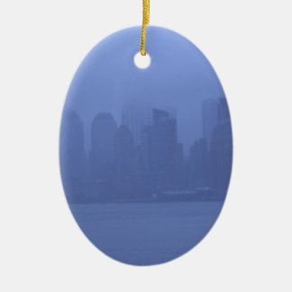 NYC Blue Foggy Skyline Holiday Ornaments