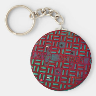 NYC Broadway Street Manhole Cover Basic Round Button Keychain