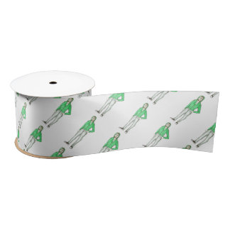 NYC Brooklyn BK Hipster Guy New York City Ribbon Satin Ribbon