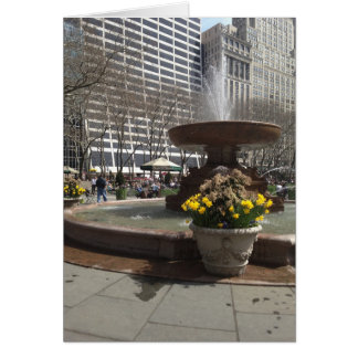 NYC Bryant Park Fountain Daffodils New York Spring Card